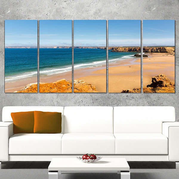 Designart Serene Rocky Bay Portugal Extra Large Seashore Canvas Art - 5 Panels