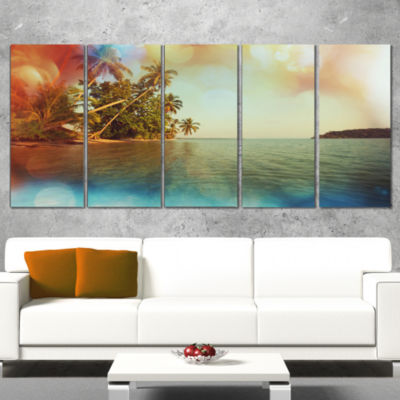 Serene Tropical Beach with Palms Seashore WrappedArt Print - 5 Panels