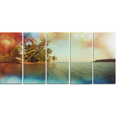 Designart Serene Tropical Beach with Palms Seashore Canvas Art Print - 5 Panels