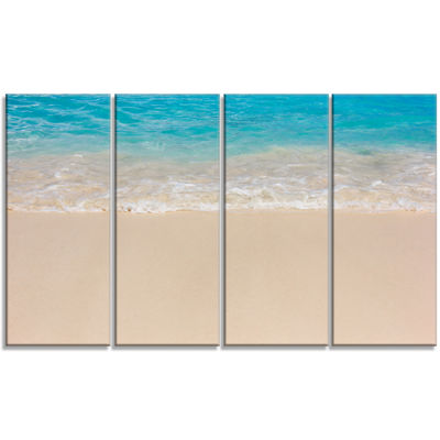 Designart Serene White and Blue Waters Large Seashore CanvasPrint - 4 Panels
