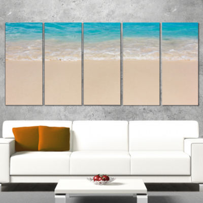 Designart Serene White and Blue Waters Large Seashore Wrapped Print - 5 Panels