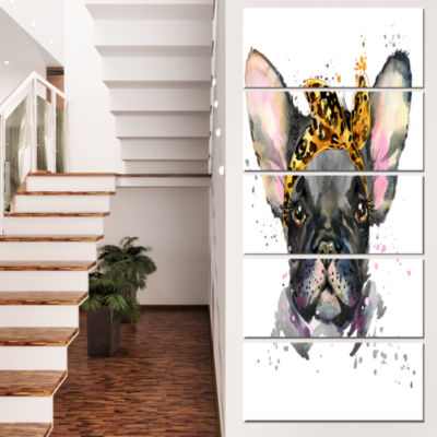 Designart Serious Black French Bulldog Animal Canvas Wall Art - 4 Panels
