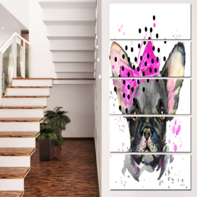 Designart Serious French Bulldog Watercolor AnimalCanvas Wall Art - 5 Panels