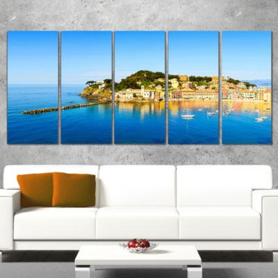Designart Sestri Levante Silence Bay Sea Extra Large Seashore Canvas Art - 4 Panels