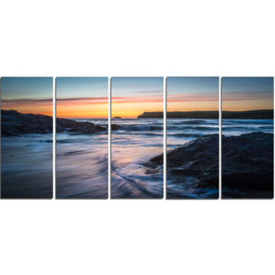 Setting Sun at Polzeath Beach Modern Seascape Canvas Artwork - 5 Panels