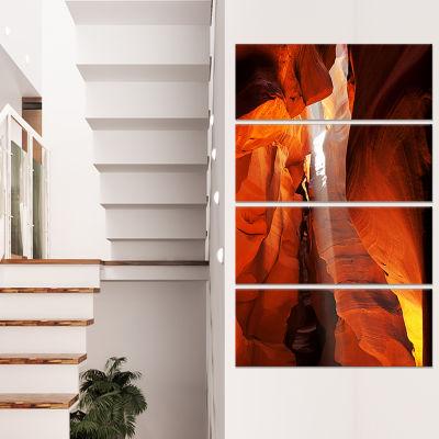 Designart Antelope Canyon in Sunlight Rays Oversized AfricanLandscape Canvas Art - 4 Panels