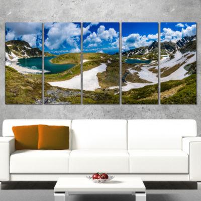Designart Seven Rila Lakes in Bulgaria Landscape Wrapped ArtPrint - 5 Panels