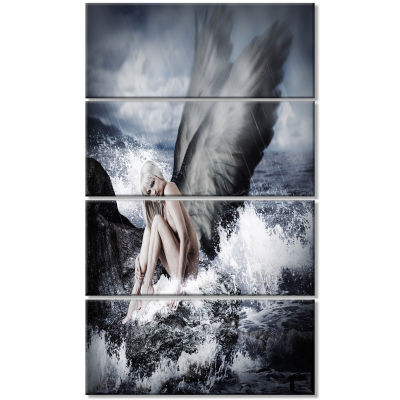 Sexy Blonde Woman with Angel Oversized Abstract Canvas Art - 4 Panels