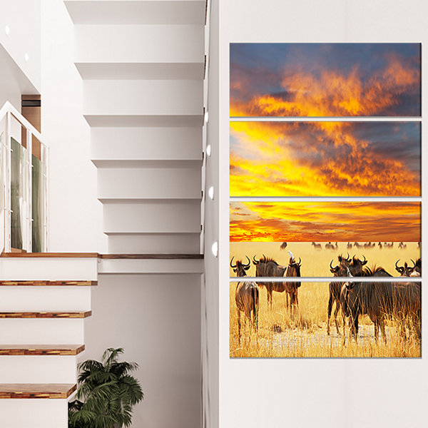 Designart Antelope Crowd at Sunset African CanvasArt Print- 4 Panels