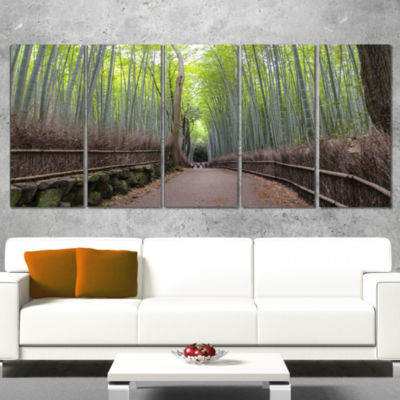 Designart Arashiyama Bamboo Path Japan Forest Wrapped CanvasWall Art Print - 5 Panels