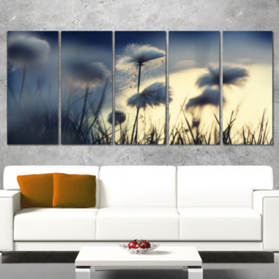 Designart Arctic Blooming Cotton Flowers Large Flower Wrapped Canvas Wall Art - 5 Panels