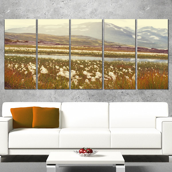 Designart Arctic Cotton Flowers Meadow Large Flower Wrapped Canvas Wall Art - 5 Panels