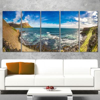 Designart Arctic Sea and Coastline Panoramic ViewLandscape Canvas Art Print - 4 Panels