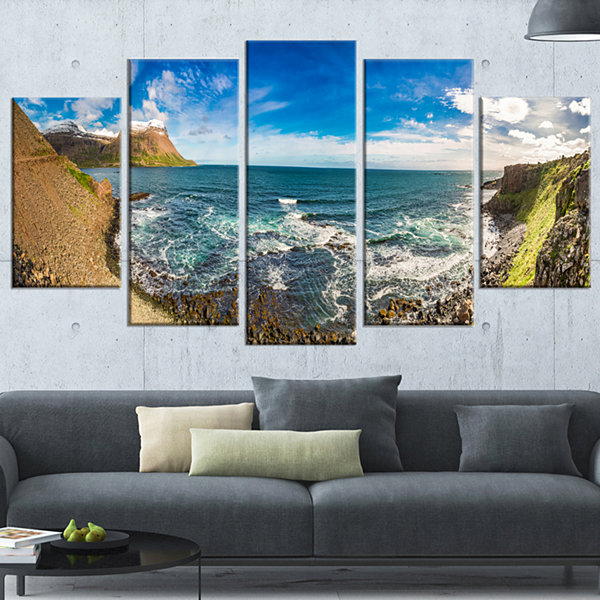 Designart Arctic Sea and Coastline Panoramic ViewLandscapeWrapped Canvas Art Print - 5 Panels
