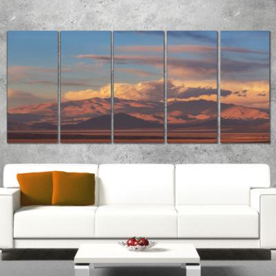 Designart Argentina Mountains with Clouds AfricanLandscape Canvas Art Print - 4 Panels