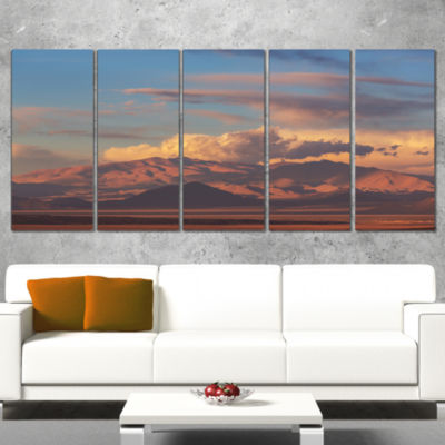 Designart Argentina Mountains with Clouds AfricanLandscape Canvas Art Print - 5 Panels