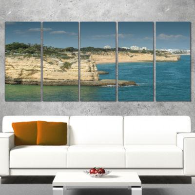 Designart Armacao De Pera Algarve Beach SeascapeWrapped Canvas Art Print - 5 Panels