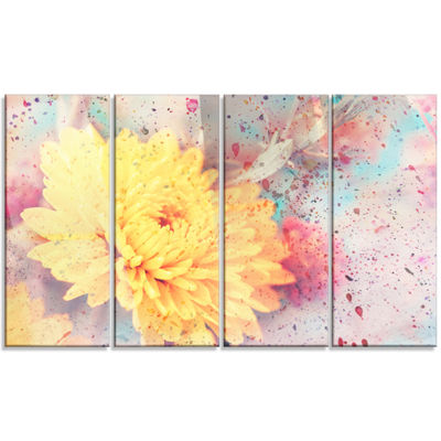 Designart Aster Flower with Watercolor Splashes Flower Artwork On Canvas - 4 Panels