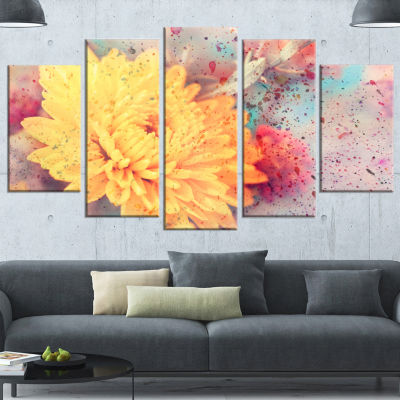 Designart Aster Flower with Watercolor Splashes Flower Artwork On Wrapped Canvas - 5 Panels