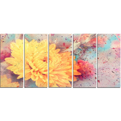 Designart Aster Flower with Watercolor Splashes Flower Artwork On Canvas - 5 Panels