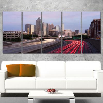 Designart Atlanta Georgia Rush Hour Traffic at Dusk Cityscape Wrapped Canvas Print - 5 Panels