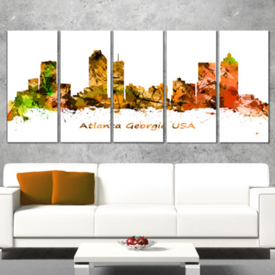 Designart Atlanta Georgia Skyline Cityscape CanvasArt Print- 5 Panels