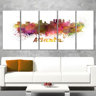 Designart Atlanta Skyline Purple Cityscape CanvasArtwork Print - 5 Panels