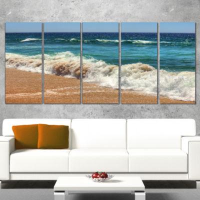 Designart Atlantic Beach with Foaming Waves ExtraLarge Seascape Art Canvas - 4 Panels