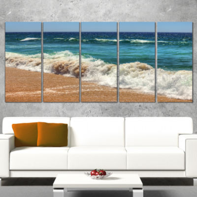 Designart Atlantic Beach with Foaming Waves ExtraLarge Seascape Art Canvas - 5 Panels