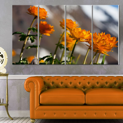 Designart attractive Small Yellow Flowers Large Flower Canvas Wall Art - 4 Panels