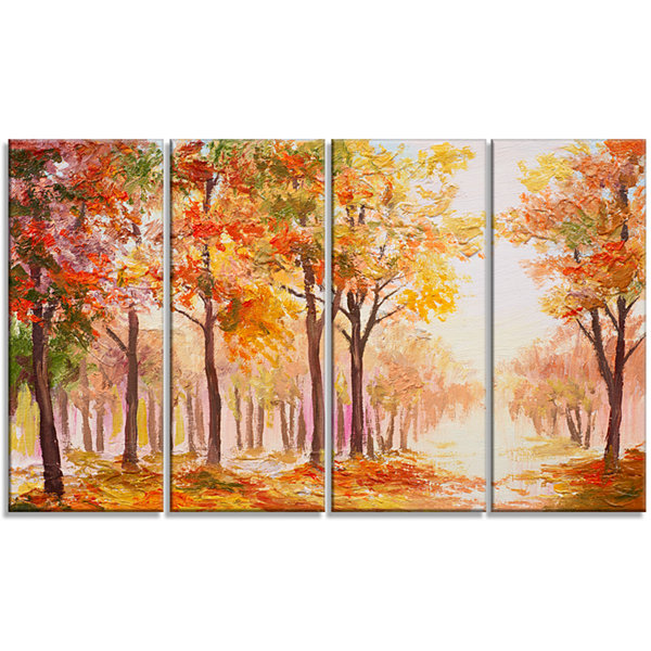 Designart Autumn Everywhere Forest Landscape ArtPrint Canvas - 4 Panels