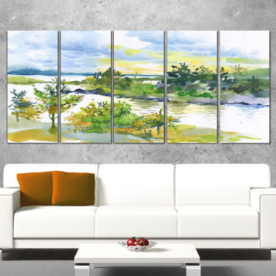 Designart Autumn Forest and Lake Watercolor Landscape Wrapped Canvas Art Print - 5 Panels
