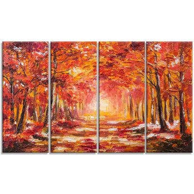 Designart Autumn Forest in Red Shade Landscape ArtPrint Canvas - 4 Panels