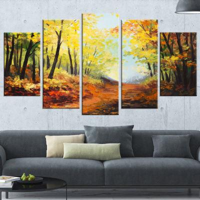 Designart Autumn Forest Pathway Landscape Art WallArt Print- 5 Panels
