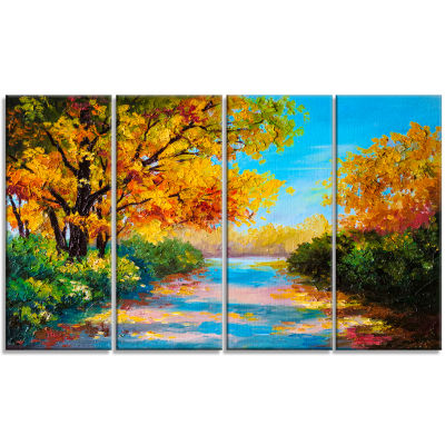 Designart Autumn Forest with Colorful River Landscape Art Print Canvas - 4 Panels