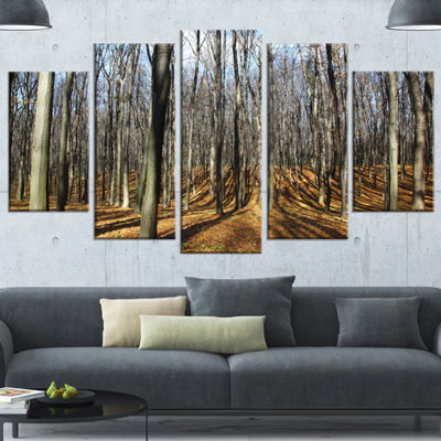 Designart Shade From Sun in Autumn Forest Modern Forest Wrapped Art - 5 Panels