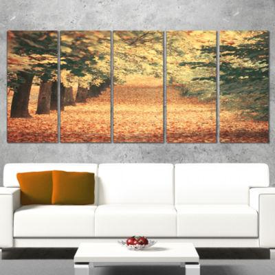 Designart Autumn Forest with Walking Path ModernForest Canvas Wall Art - 4 Panels