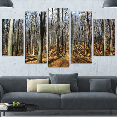 Designart Shade From Sun in Autumn Forest Modern Forest Canvas Art - 5 Panels