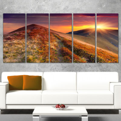 Designart Autumn Hills with Colorful Grass Landscape Photography Canvas Print - 4 Panels