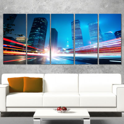 Designart Shanghai Lujiazui Finance at Night Cityscape Canvas Print - 5 Panels