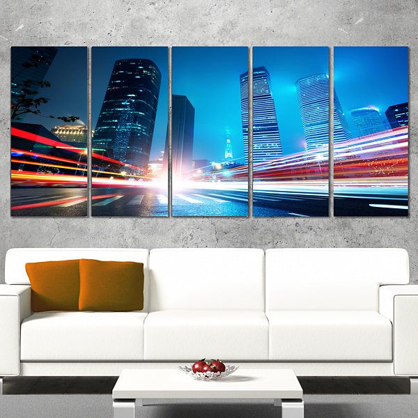 Designart Shanghai Lujiazui Finance at Night LargeCityscapeCanvas Print - 5 Panels