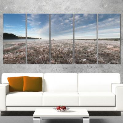 Designart Autumn Hoarfrost On Grass Landscape Print WrappedWall Artwork - 5 Panels
