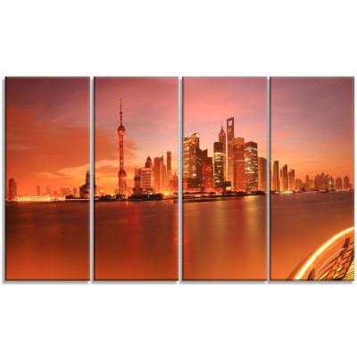 Shanghai Lujiazui Skyline Cityscape Photography Canvas Print - 4 Panels