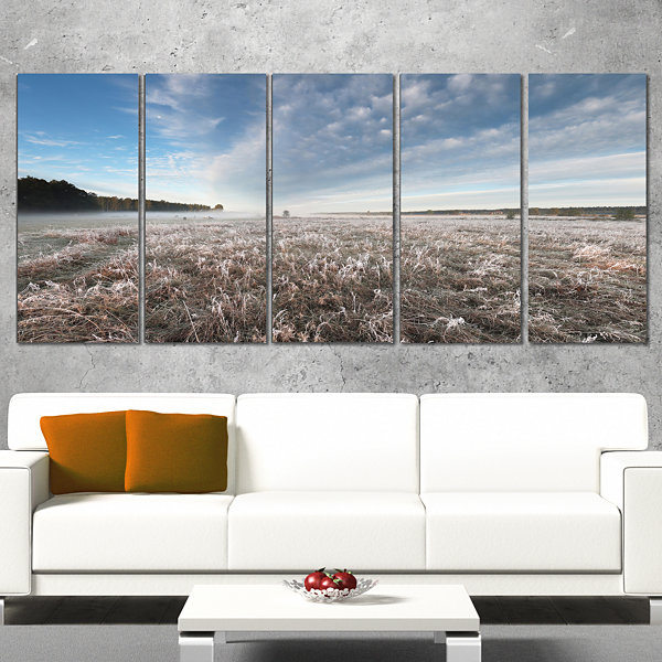 Designart Autumn Hoarfrost On Grass Landscape Print Wall Artwork - 5 Panels