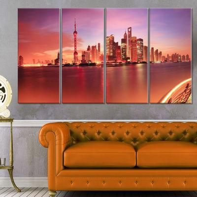 Designart Shanghai Skyline at Dawn Panorama Cityscape CanvasPrint - 4 Panels