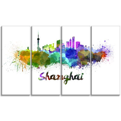 Designart Shanghai Skyline Cityscape Canvas Artwork Print -4 Panels