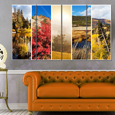 Designart Autumn in Sierra Nevade Collage Oversized Landscape Canvas Art - 4 Panels