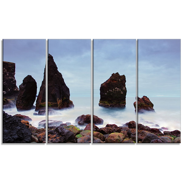 Designart Sharp Rocky Coastline Raykjanes Extra Large Seashore Canvas Art - 4 Panels