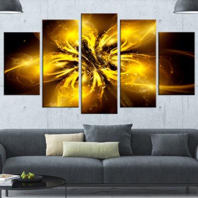 Designart Shiny Gold Fractal Flower on Black Floral Canvas Art Print - 5 Panels