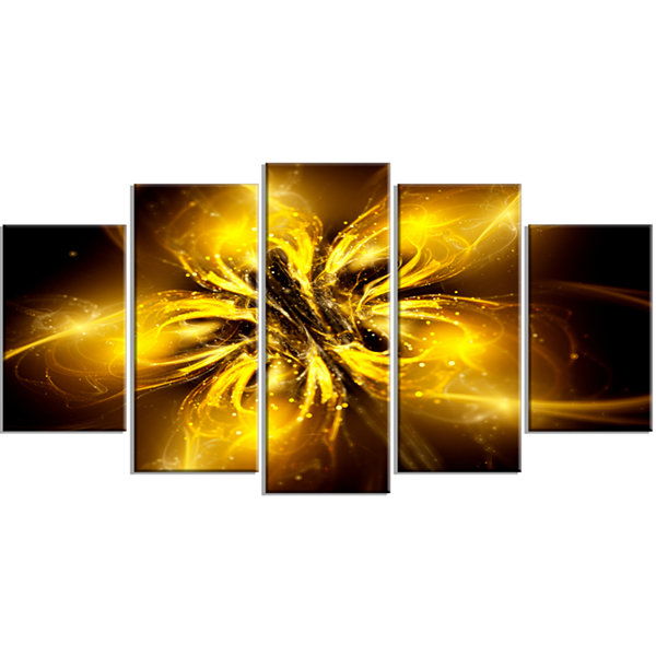 Shiny Gold Fractal Flower on Black Large Floral Canvas Art Print - 5 Panels